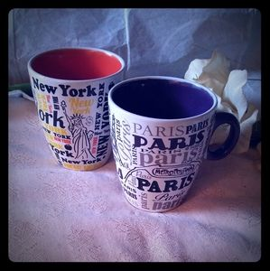 Vintage New York & Paris Ceramic Mugs